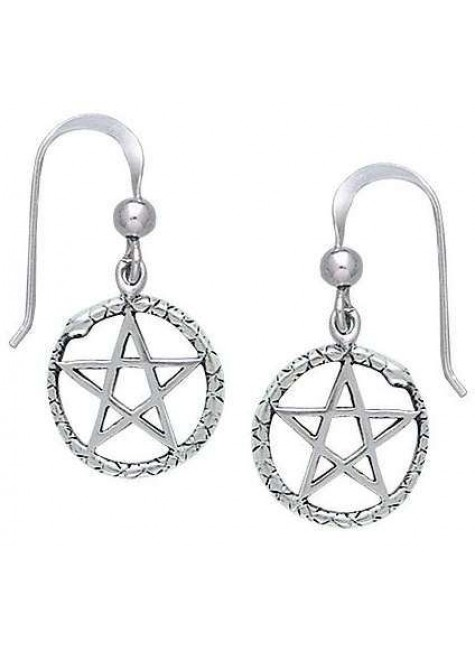 Ouroborus Snake of Rebirth Pentacle Earrings at Gothic Plus, Gothic Clothing, Jewelry, Goth Shoes & Boots & Home Decor