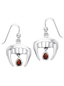 Vampire Teeth Sterling Silver Blood Drop Earrings