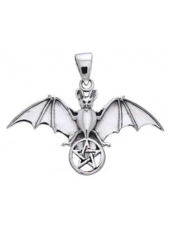 Bat Pentacle Sterling Silver Pendant Gothic Plus Gothic Clothing, Jewelry, Goth Shoes & Boots & Home Decor