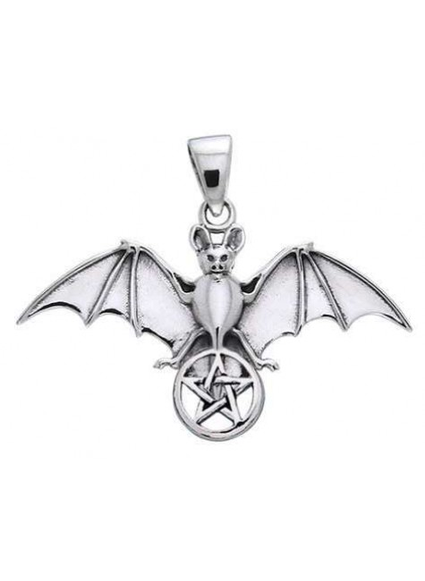 Bat Pentacle Sterling Silver Pendant at Gothic Plus, Gothic Clothing, Jewelry, Goth Shoes & Boots & Home Decor