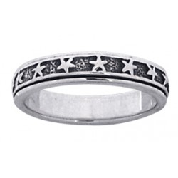 Star Sterling Silver Fidget  Spinner Ring Gothic Plus Gothic Clothing, Jewelry, Goth Shoes & Boots & Home Decor