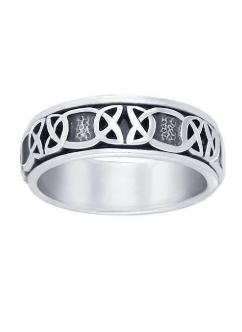 Celtic Knot Band Sterling Silver Fidget Spinner Ring at Gothic Plus, Gothic Clothing, Jewelry, Goth Shoes & Boots & Home Decor