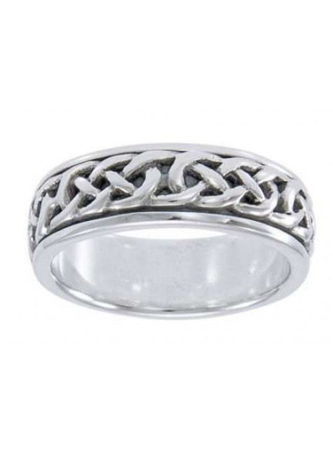 Celtic Knotwork Sterling Silver Fidget Spinner Ring at Gothic Plus, Gothic Clothing, Jewelry, Goth Shoes & Boots & Home Decor