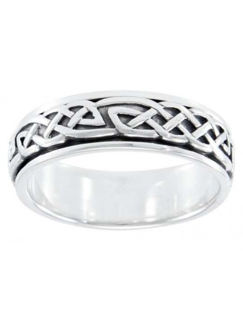 Celtic Knot Woven Sterling Silver Fidget Spinner Ring at Gothic Plus, Gothic Clothing, Jewelry, Goth Shoes & Boots & Home Decor