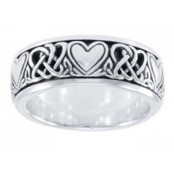 Celtic Hearts Sterling Silver Fidget Spinner Ring Gothic Plus Gothic Clothing, Jewelry, Goth Shoes & Boots & Home Decor