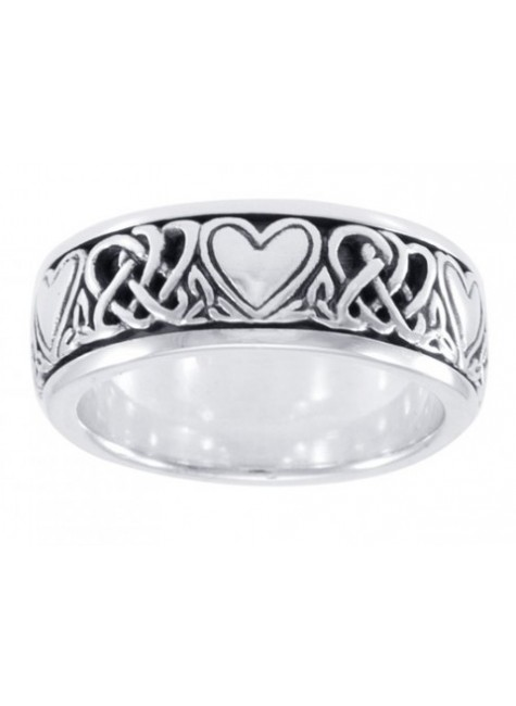 Celtic Hearts Sterling Silver Fidget Spinner Ring at Gothic Plus, Gothic Clothing, Jewelry, Goth Shoes & Boots & Home Decor