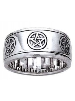 Pentacle Sterling Silver Fidget Spinner Ring Gothic Plus Gothic Clothing, Jewelry, Goth Shoes & Boots & Home Decor