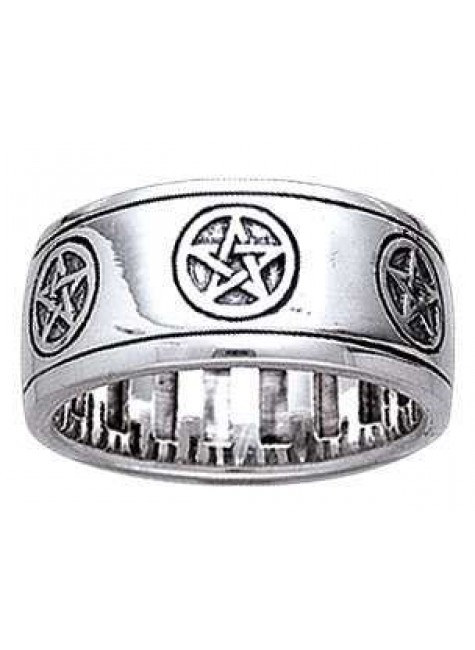 Pentacle Sterling Silver Fidget Spinner Ring at Gothic Plus, Gothic Clothing, Jewelry, Goth Shoes & Boots & Home Decor
