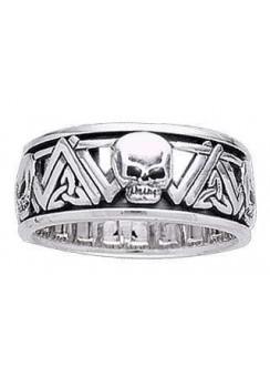 Skull Trinity Knot Sterling Silver Fidget Spinner Ring