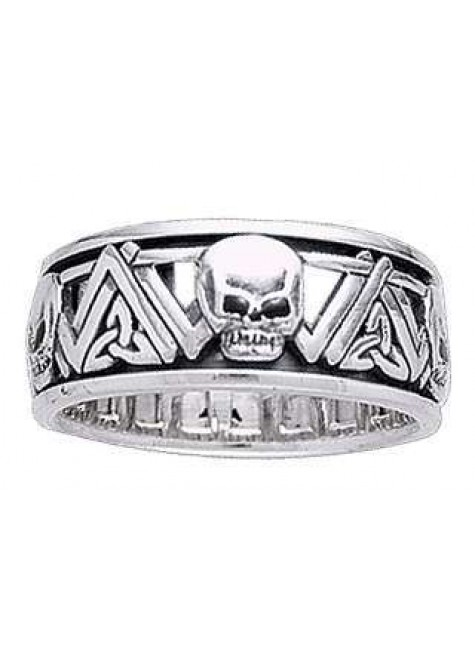 Skull Trinity Knot Sterling Silver Fidget Spinner Ring at Gothic Plus, Gothic Clothing, Jewelry, Goth Shoes & Boots & Home Decor