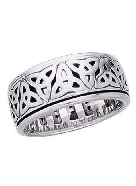 Triquetra Sterling Silver Fidget Spinner Ring at Gothic Plus, Gothic Clothing, Jewelry, Goth Shoes & Boots & Home Decor