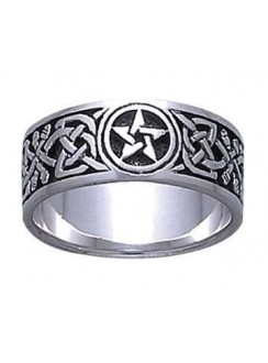 Celtic Knot Pentacle Band Ring Gothic Plus Gothic Clothing, Jewelry, Goth Shoes & Boots & Home Decor