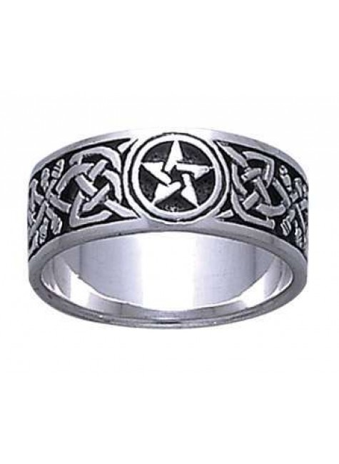 Celtic Knot Pentacle Band Ring at Gothic Plus, Gothic Clothing, Jewelry, Goth Shoes & Boots & Home Decor