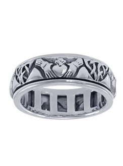 Celtic Claddagh Sterling Silver Fidget Spinner Ring Gothic Plus Gothic Clothing, Jewelry, Goth Shoes & Boots & Home Decor