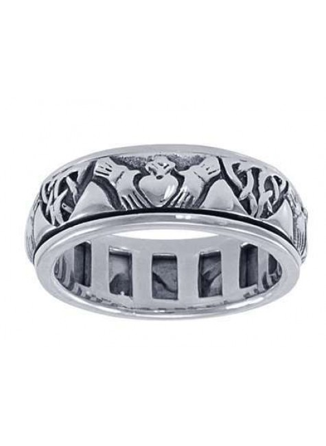 Celtic Claddagh Sterling Silver Fidget Spinner Ring at Gothic Plus, Gothic Clothing, Jewelry, Goth Shoes & Boots & Home Decor