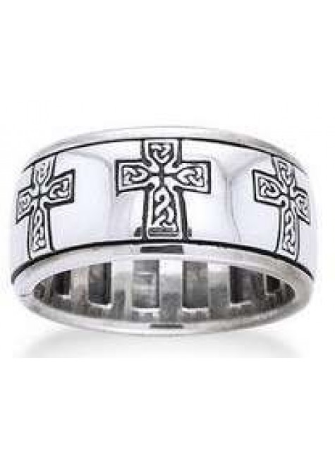 Celtic Cross Sterling Silver Fidget Spinner Ring at Gothic Plus, Gothic Clothing, Jewelry, Goth Shoes & Boots & Home Decor
