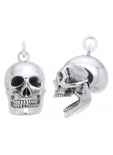 Skull Sterling Silver Pendant with Movable Jaw at Gothic Plus, Gothic Clothing, Jewelry, Goth Shoes & Boots & Home Decor