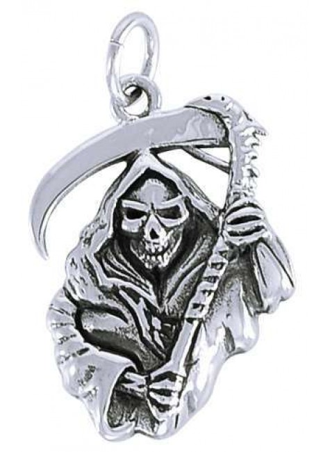 Grim Reaper Sterling Silver Charm at Gothic Plus, Gothic Clothing, Jewelry, Goth Shoes & Boots & Home Decor