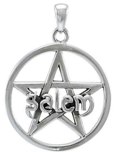 Salem Pentagram Sterling Silver Pendant at Gothic Plus, Gothic Clothing, Jewelry, Goth Shoes & Boots & Home Decor