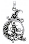 Salem Witch in Moon Sterling Silver Pendant