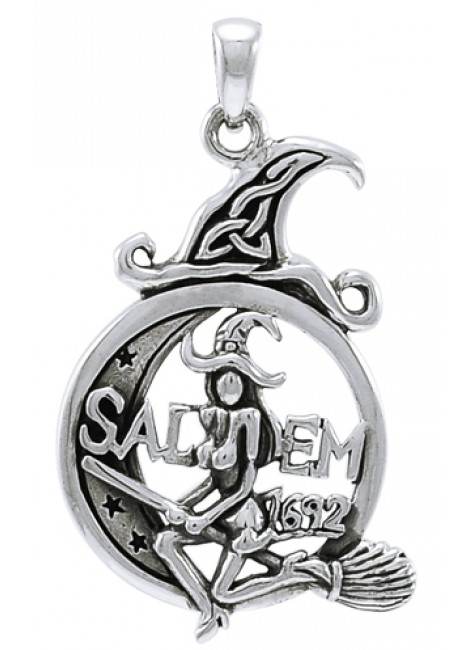 Salem Witch in Moon Sterling Silver Pendant at Gothic Plus, Gothic Clothing, Jewelry, Goth Shoes & Boots & Home Decor