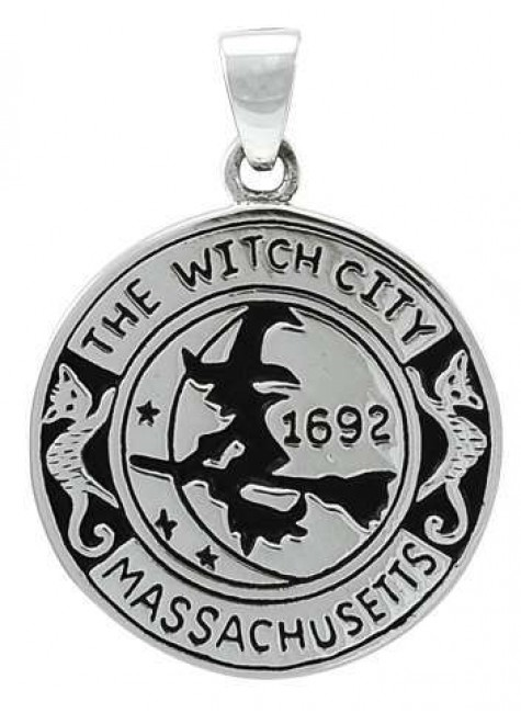 Salem Witch Commerative Sterling Silver Pendant at Gothic Plus, Gothic Clothing, Jewelry, Goth Shoes & Boots & Home Decor