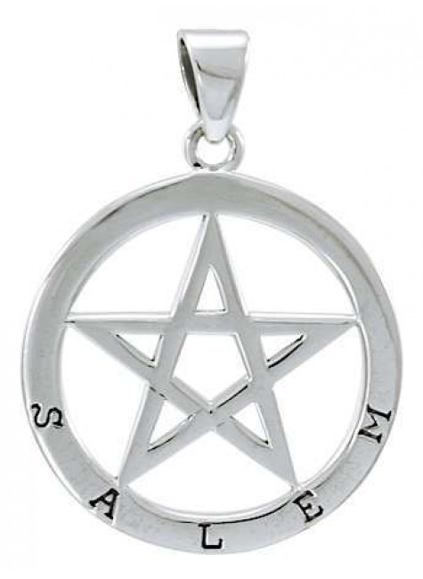 Salem Witch Pentagram Sterling Silver Pendant at Gothic Plus, Gothic Clothing, Jewelry, Goth Shoes & Boots & Home Decor