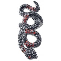 Snake Ring in Red and Black