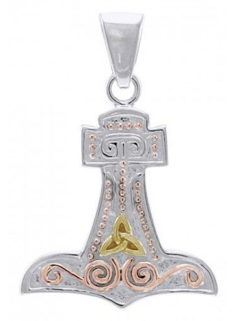 Thors Hammer 3 Tone Mjolnir Pendant at Gothic Plus, Gothic Clothing, Jewelry, Goth Shoes & Boots & Home Decor