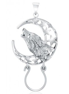 Baying Wolf and Moon Charm Holder Pendant