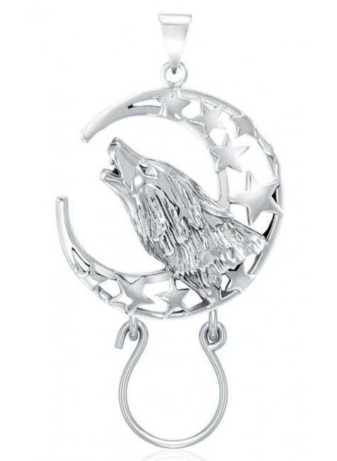 Baying Wolf and Moon Charm Holder Pendant at Gothic Plus, Gothic Clothing, Jewelry, Goth Shoes & Boots & Home Decor