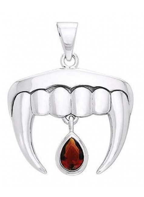 Vampire Teeth Sterling Silver Blood Drop Pendant at Gothic Plus, Gothic Clothing, Jewelry, Goth Shoes & Boots & Home Decor