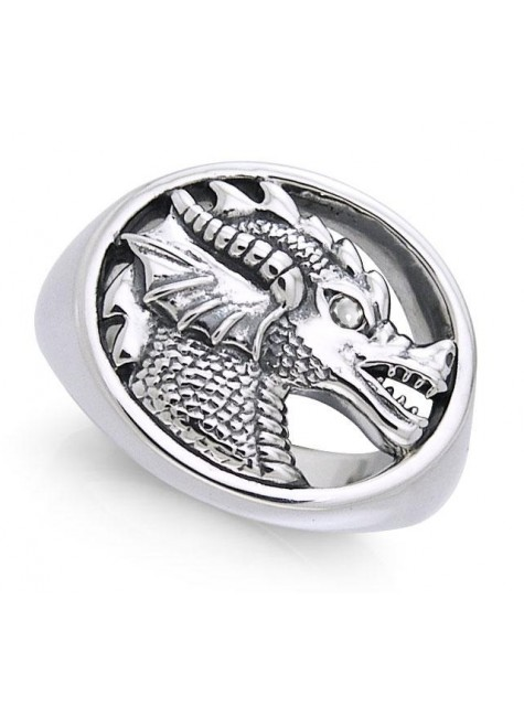 King Arthur Pendragon Seal White Zirconium Ring at Gothic Plus, Gothic Clothing, Jewelry, Goth Shoes & Boots & Home Decor