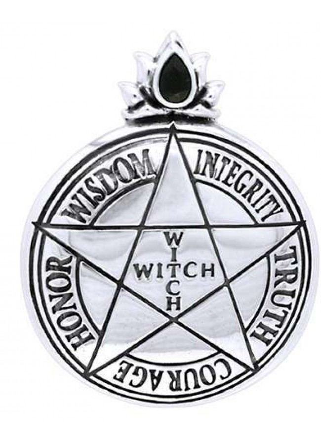 Witch pentagram sterling silver pendant wicca witch pagan jewelry witch virtues pentagram sterling silver pendant at gothic plus gothic clothing jewelry goth aloadofball Image collections