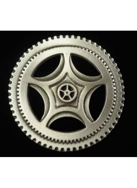 Steampunk Clock Gear Large Pewter Brooch Pin at Gothic Plus, Gothic Clothing, Jewelry, Goth Shoes & Boots & Home Decor