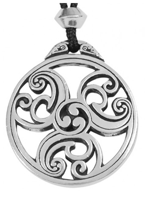 Celtic Triscele Spiral Pewter Necklace at Gothic Plus, Gothic Clothing, Jewelry, Goth Shoes & Boots & Home Decor