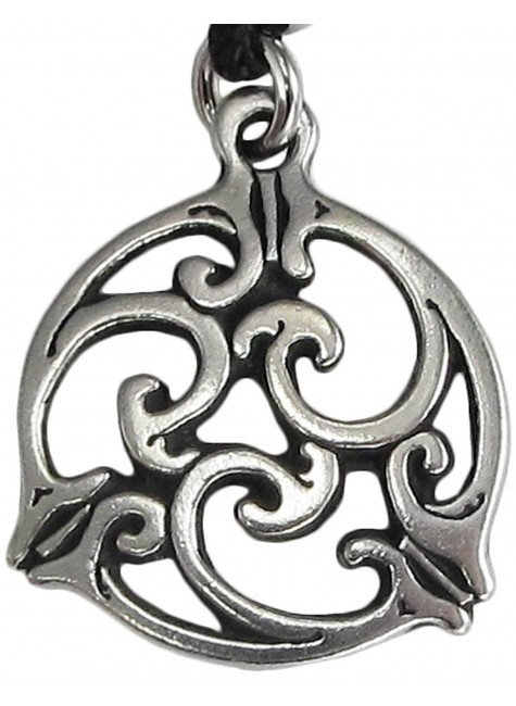 Triscele Celtic Spiral Pewter Necklace in 2 Sizes