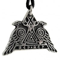 Valknut Raven Warrior Odin Huginn and Muninn Pewter Necklace