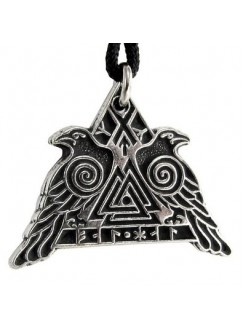 Valknut Raven Warrior Odin Huginn and Muninn Pewter Necklace Gothic Plus Gothic Clothing, Jewelry, Goth Shoes & Boots & Home Decor