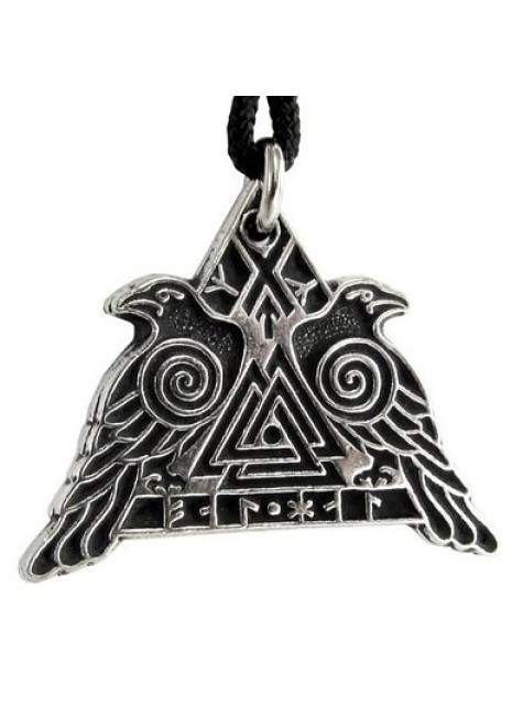 Valknut Raven Warrior Odin Huginn and Muninn Pewter Necklace at Gothic Plus, Gothic Clothing, Jewelry, Goth Shoes & Boots & Home Decor
