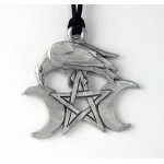 Raven Triple Moon Pewter Necklace