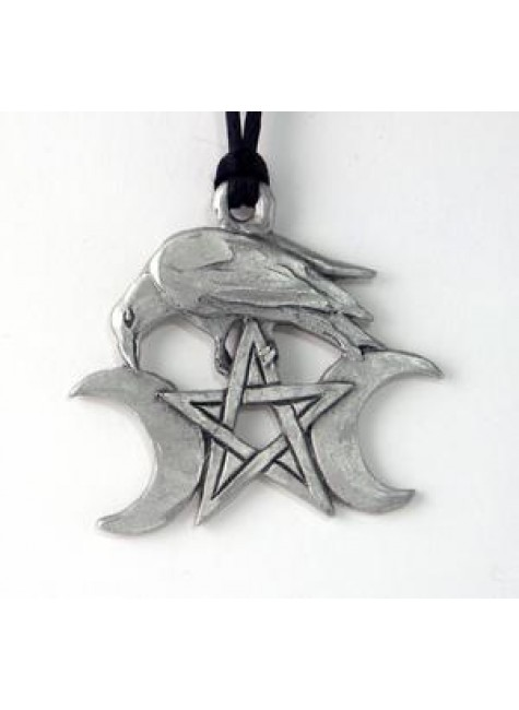 Raven Triple Moon Large Pewter Necklace at Gothic Plus, Gothic Clothing, Jewelry, Goth Shoes & Boots & Home Decor