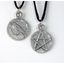Raven Pentacle Double Sided Pewter Necklace Gothic Plus Gothic Clothing, Jewelry, Goth Shoes & Boots & Home Decor