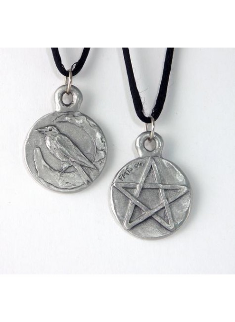 Raven Pentacle Double Sided Pewter Necklace at Gothic Plus, Gothic Clothing, Jewelry, Goth Shoes & Boots & Home Decor