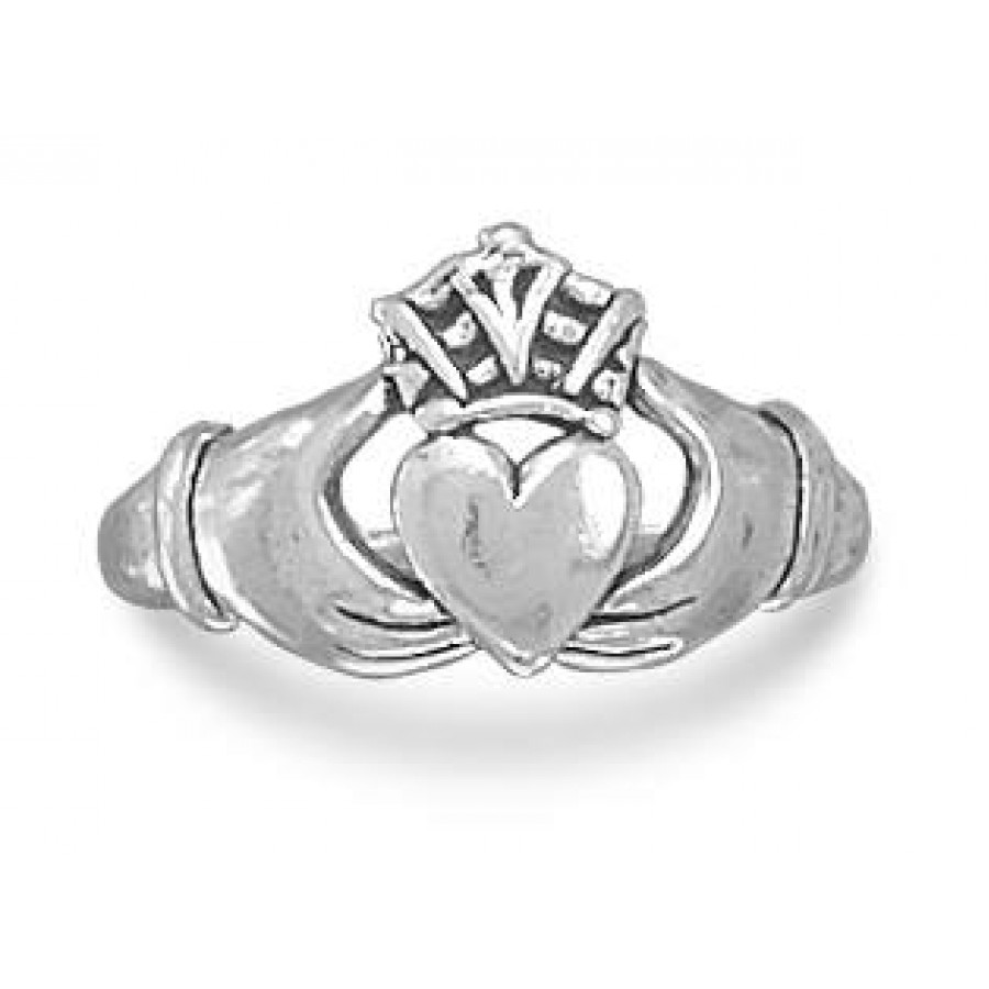 claddagh sterling silver ring with antique finish