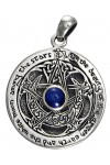Blue Sapphire Moon Pentacle Sterling Silver Pendant