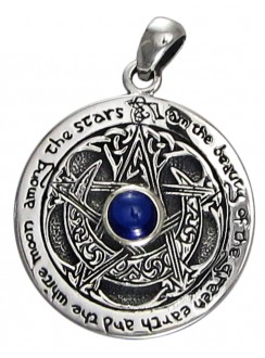 Blue Sapphire Moon Pentacle Sterling Silver Pendant Gothic Plus Gothic Clothing, Jewelry, Goth Shoes & Boots & Home Decor