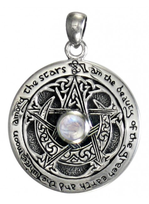Rainbow Moonstone Moon Pentacle Sterling Silver Pendant at Gothic Plus, Gothic Clothing, Jewelry, Goth Shoes & Boots & Home Decor
