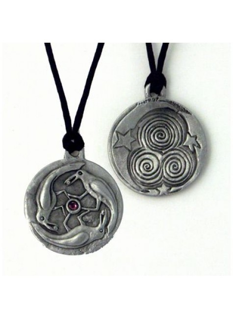 Triple Spirals Raven Pewter Necklace at Gothic Plus, Gothic Clothing, Jewelry, Goth Shoes & Boots & Home Decor