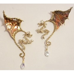 Winged Dragon Bronze Ear Wrap Gothic Plus Gothic Clothing, Jewelry, Goth Shoes & Boots & Home Decor